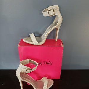 Shoes - Elegantee Silver Glitter heels